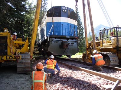 Lowering 441 onto its track