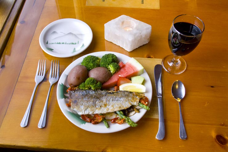 Stuffed trout dinner at IWI's Dining Car Restaurant