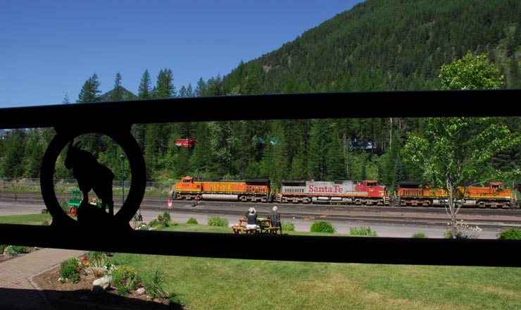 Watching BNSF from the Izaak Walton's front porch